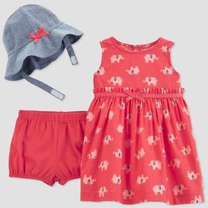 Baby Girls' 2pc Dress Set, elephant